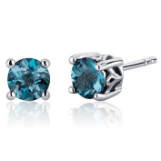 Scroll Design 2.00 Carats London Blue Topaz Round Cut Stud Earrings in Sterling Silver Rhodium Finish