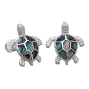 925 Silver Abalone Paua Turtle Stud Earrings Hawaiian Silver Jewellery
