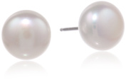 """Honora """"Classic Pearl Jewellery"""" White Freshwater Cultured Pearl 10mm Button Stud Earrings"""