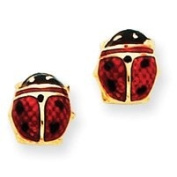 14k Yellow Gold Enamelled Ladybug Earrings. Gold Weight- 0.87g.