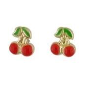 18K Yellow Gold Cherry Enamel Earrings with covered screwbacks
