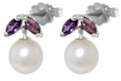 14k White Gold Pearl Stud Earrings with Amethysts