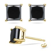 1.00 Ct of 3.80-3.99 mm AA Princess Black Diamond Stud Earrings in 14K Yellow Gold