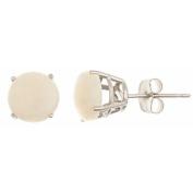 14k White Gold 7mm Brilliant Round Opal Stud Earrings