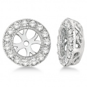 1/2CT Halo Diamond Earring Jackets 14K White Gold