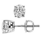 2/3 Carat Round Solitaire Diamond Earrings in 14K White Gold in Screw Back & 4 Prong Mounting