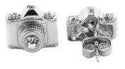 Silver with White & Clear Camera Centre Stone Lens Style Stud Earrings