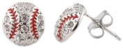 Ladies Silver Iced Out Baseball Stud Earrings