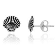 Sterling Silver Oxidised Sea Shell Stud Earrings