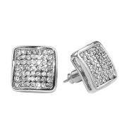 15MM ICED OUT CUSTOM DIAMOND SIMULATE HIP HOP BLING PAVE SQUARE STUD SILVER EARRINGS