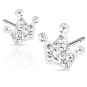 Pair of 316L Surgical Steel Multi Paved Clear Crown Pave Stud Earrings - Width