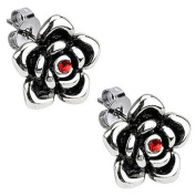 12mm 316L Stainless Steel High Polished Designer Full Bloom Rose with Ruby Red Colour CZ Cubic Zirconia Diamond Push Back Stud Earrings