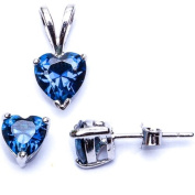 BEST SELLER GIFT! Blue Sapphire Heart Pendant & Earring .925 Sterling Silver Set