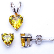 BEST SELLER GIFT! Yellow Topaz Heart Pendant & Earring .925 Sterling Silver Set