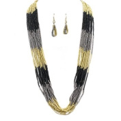Beautiful 15 Strand Black, Grey, and Gold Colour Seed Bead Fashion Necklace - Matching Earrings Included - 33'' in Length