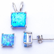 GREAT QUALITY Princess Cut Blue Lab FIRE Opal Pendant & Earring .925 Sterling Silver Set