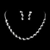 Bridal Wedding Jewellery Set Crystal Rhinestone Pearl Patterned Necklace Earrings