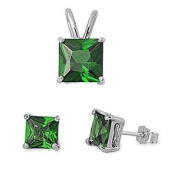 Sterling Silver Emerald CZ Earrings and Necklace Jewellery Set