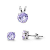 Sterling Silver Round Alexandrite CZ Earrings and Necklace Jewellery Set