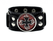 Red and Black Inlay Iron Cross Wristband by Dysfunctional Doll