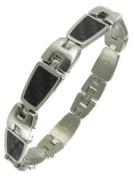 Rochet Roma Solid Stainless Steel Black Carbon Checker Modern Mens Bracelet