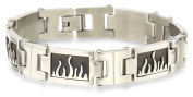 Cold Steel Stainless Teel and Black Immersion Plate Flame Men's Bracelet