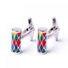 316L Stainless Steel Men Cuff Link Colourized Column CuffLinks