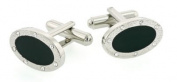 Dignified oval cufflinks with black enamel and crystal accented border with presentation box
