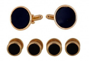Tuxedo Cufflinks and Studs - Black Onyx with Gold Tone By Jewellery Mountain