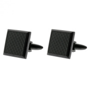 Men's Stainless Steel Carbon Fibre and Black Ion-Plated Cuff Links