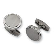 Titanium Brushed and Polished Cuff Link - JewelryWeb