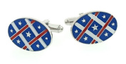 JJ Weston silver plated and enamel stars and stripes cufflinks with presentation box. Made in the USA