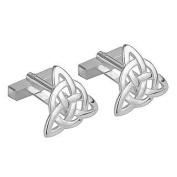 Rhodium Plated Trinity Knot Cufflinks-Made in Ireland