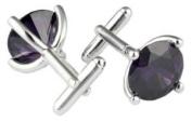Black Round Crystal Cufflinks by Mousie Bean