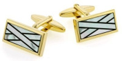 Classic yellow gold plated cufflinks with mother of pearl and onyx with presentation box