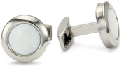 "Colibri Jewellery ""Hampton"" Polished Stainless Steel Round Mother-Of-Pearl Cuff Links"