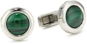 "Colibri Jewellery ""Hampton"" Polished Stainless Steel Round Deep Green Malachite Cuff Links"