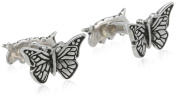 """ROTENIER """"Novelty"""" Men's Sterling Silver Butterfly and Caterpillar Antiqued Cufflinks"""