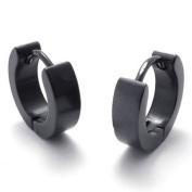KONOV Jewellery Urban Male Plain Black Stainless Steel Mens Huggie Hinged Hoop Earrings, 2pcs, Colour Black
