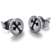 KONOV Jewellery 2pcs Two Tone. Stainless Steel Unisex Mens Cross Stud Earrings Jewellery for Men, 1 Pair, Colour Silver Black