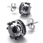 KONOV Jewellery Vintage Stainless Steel Cubic Zirconia Mens Royal Crown Stud Earrings Set, 2pcs, Colour Black Silver