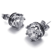 KONOV Jewellery Vintage Stainless Steel Cubic Zirconia Men's Royal Crown Stud Earrings Set, 2pcs, Colour Silver