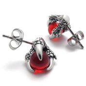 KONOV Jewellery Vintage Stainless Steel Dragon Claw Men's Stud Earrings for men Set, 2pcs, Colour Silver Red