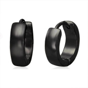 Urban Male Plain Black Stainless Steel Mens Hinged Hoop Earrings