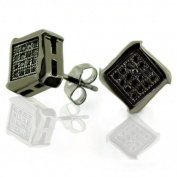 Bling Jewellery Mens CZ Black Micro Pave Stud Earrings 925 Sterling Silver 8mm