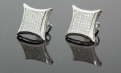 Mens 925 Sterling Silver White CZ Square Earrings