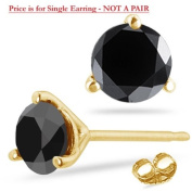 1/9 (0.10-0.13) Cts of 2.50-3.00 mm AA Round Black Diamond Mens Stud Earring in 14K Yellow Gold