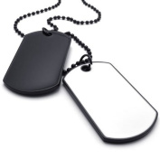 KONOV Jewellery Army Style 2pcs Dog Tag Pendant Mens Necklace Chain, White Black