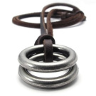 KONOV Jewellery Vintage Style Alloy Double Ring Pendant Adjustable Genuine Leather Mens Necklace Chain
