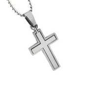 Christian Unisex Stainless Steel Abstinence Puzzle Cross Chastity Necklace on a 45.7cm Ball Chain - Purity Necklace, Mens Cross Necklace, Womens Cross Necklace, Guys Cross Necklace, Girls Cross Necklace, Boys Cross Necklace